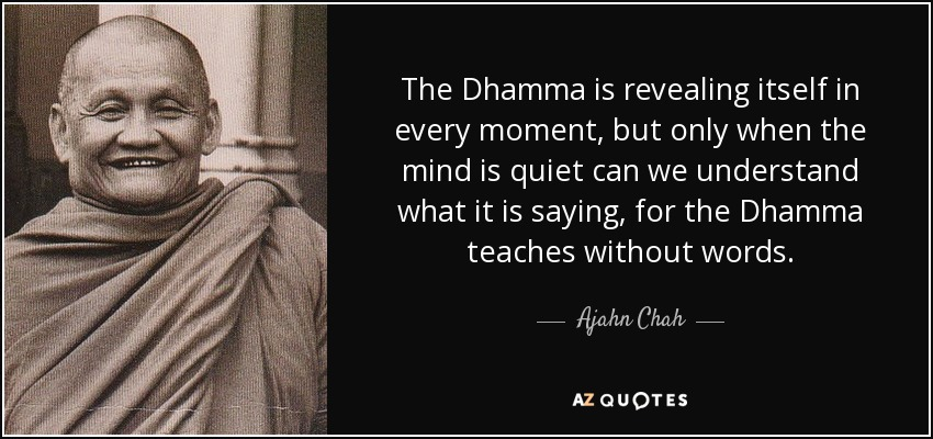 The Dhamma is revealing itself in every moment, but only when the mind is quiet can we understand what it is saying, for the Dhamma teaches without words. - Ajahn Chah