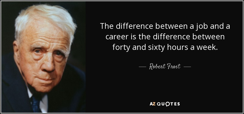 The difference between a job and a career is the difference between forty and sixty hours a week. - Robert Frost
