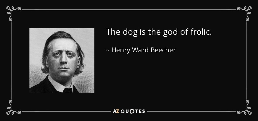 The dog is the god of frolic. - Henry Ward Beecher