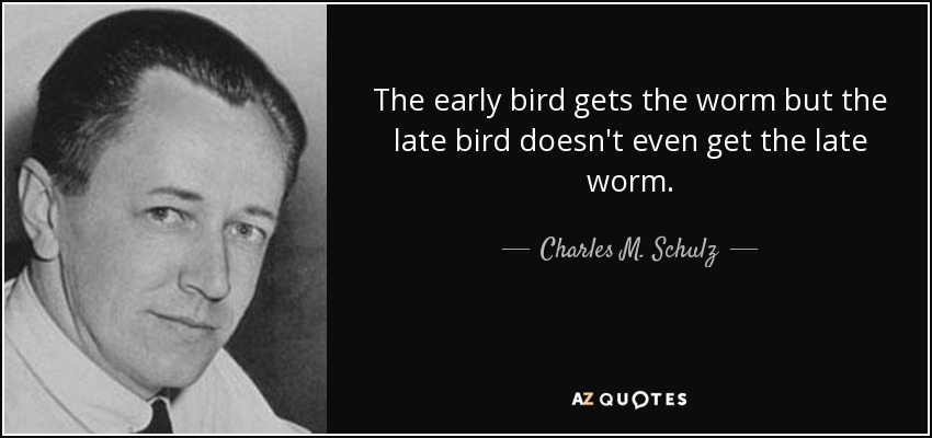 The early bird gets the worm but the late bird doesn't even get the late worm. - Charles M. Schulz