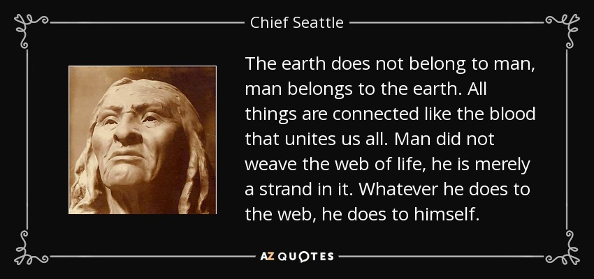 The earth does not belong to man, man belongs to the earth. All things are connected like the blood that unites us all. Man did not weave the web of life, he is merely a strand in it. Whatever he does to the web, he does to himself. - Chief Seattle