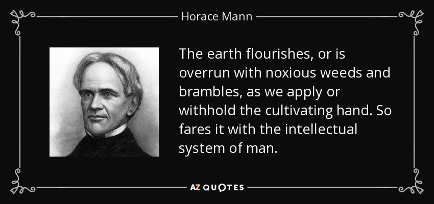 The earth flourishes, or is overrun with noxious weeds and brambles, as we apply or withhold the cultivating hand. So fares it with the intellectual system of man. - Horace Mann