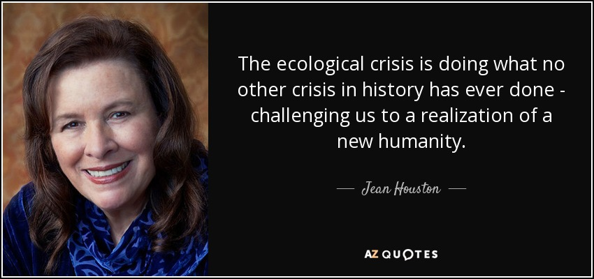 The ecological crisis is doing what no other crisis in history has ever done - challenging us to a realization of a new humanity. - Jean Houston