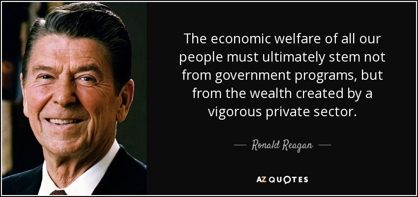 The economic welfare of all our people must ultimately stem not from government programs, but from the wealth created by a vigorous private sector. - Ronald Reagan