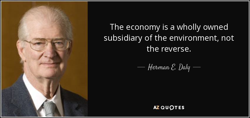 The economy is a wholly owned subsidiary of the environment, not the reverse. - Herman E. Daly