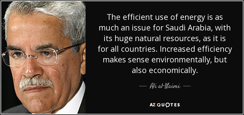 The efficient use of energy is as much an issue for Saudi Arabia, with its huge natural resources, as it is for all countries. Increased efficiency makes sense environmentally, but also economically. - Ali al-Naimi
