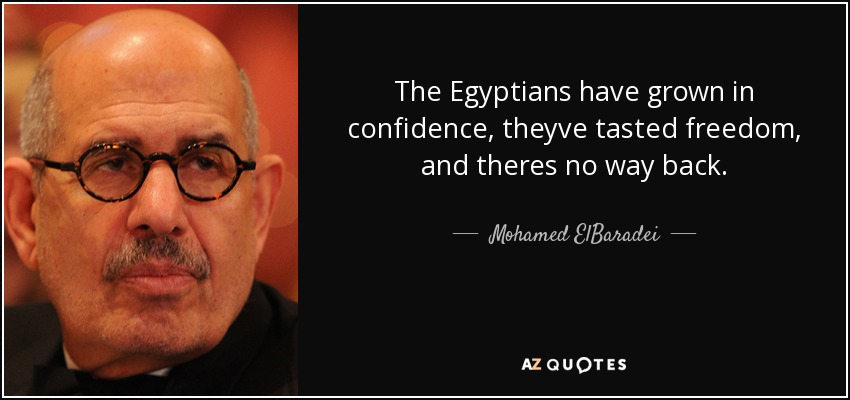 The Egyptians have grown in confidence, theyve tasted freedom, and theres no way back. - Mohamed ElBaradei