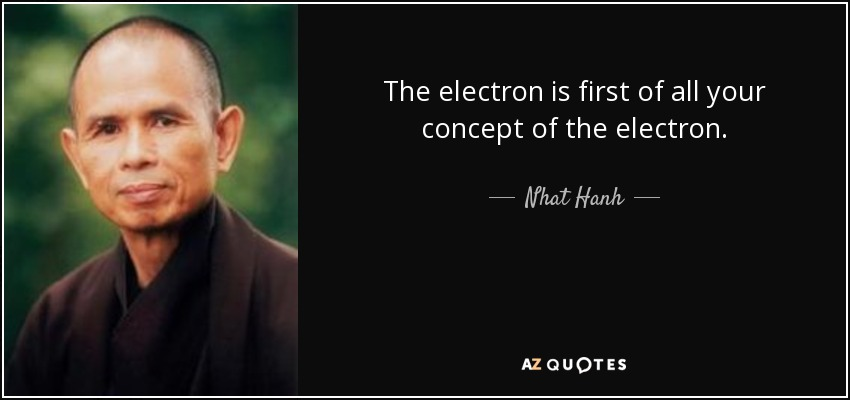The electron is first of all your concept of the electron. - Nhat Hanh