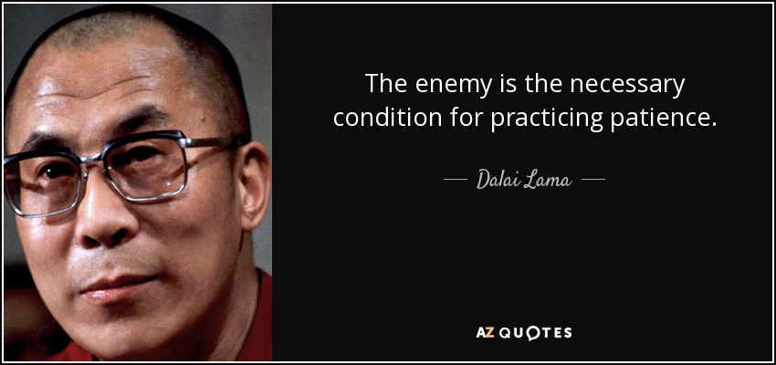 The enemy is the necessary condition for practicing patience. - Dalai Lama