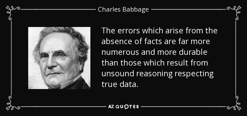 The errors which arise from the absence of facts are far more numerous and more durable than those which result from unsound reasoning respecting true data. - Charles Babbage