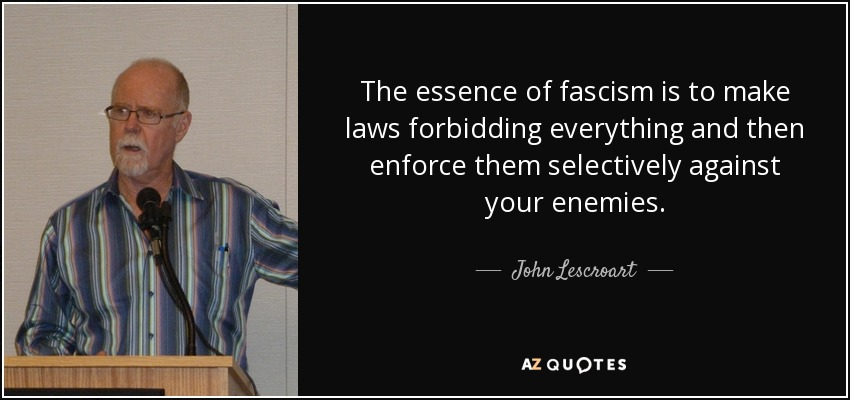 The essence of fascism is to make laws forbidding everything and then enforce them selectively against your enemies. - John Lescroart