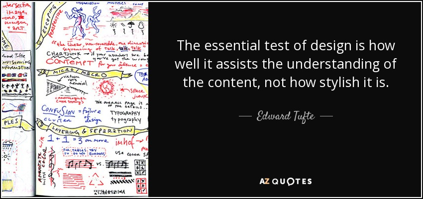 The essential test of design is how well it assists the understanding of the content, not how stylish it is. - Edward Tufte