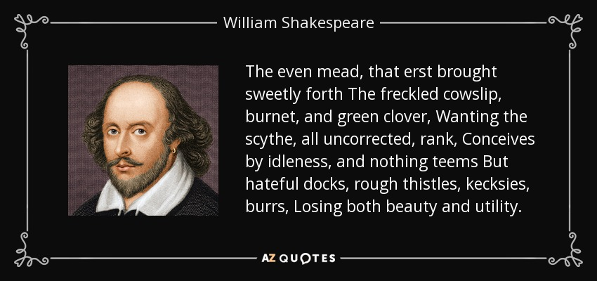 The even mead, that erst brought sweetly forth The freckled cowslip, burnet, and green clover, Wanting the scythe, all uncorrected, rank, Conceives by idleness, and nothing teems But hateful docks, rough thistles, kecksies, burrs, Losing both beauty and utility. - William Shakespeare