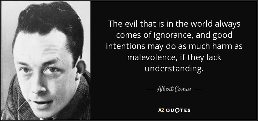 The evil that is in the world always comes of ignorance, and good intentions may do as much harm as malevolence, if they lack understanding. - Albert Camus