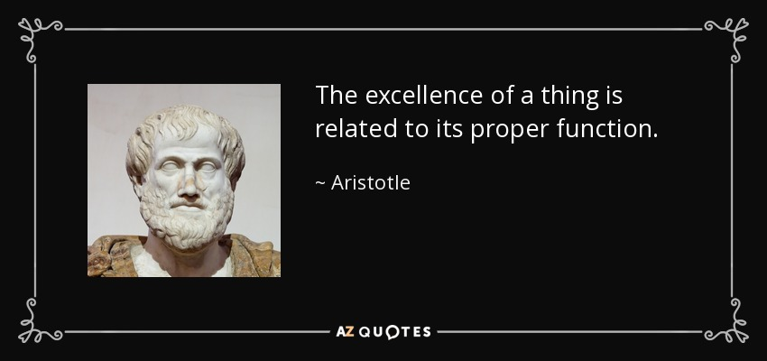 The excellence of a thing is related to its proper function. - Aristotle
