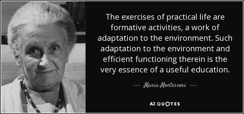 The exercises of practical life are formative activities, a work of adaptation to the environment. Such adaptation to the environment and efficient functioning therein is the very essence of a useful education. - Maria Montessori