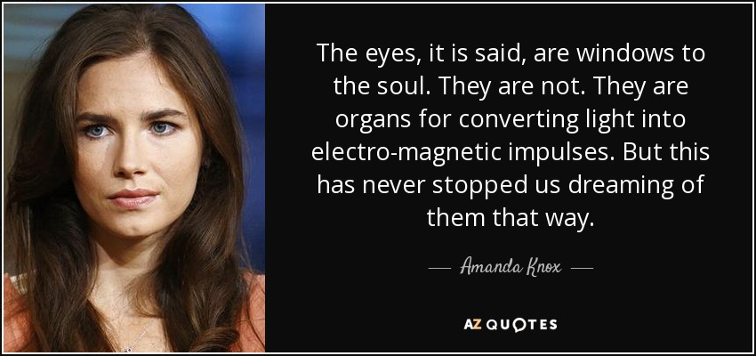 The eyes, it is said, are windows to the soul. They are not. They are organs for converting light into electro-magnetic impulses. But this has never stopped us dreaming of them that way. - Amanda Knox