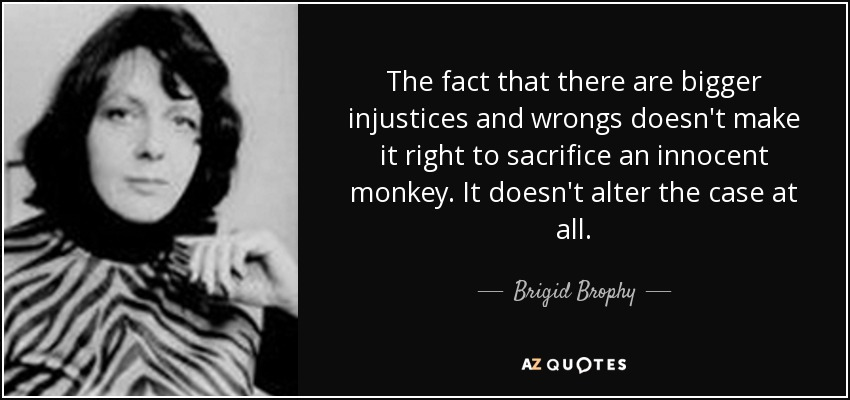The fact that there are bigger injustices and wrongs doesn't make it right to sacrifice an innocent monkey. It doesn't alter the case at all. - Brigid Brophy