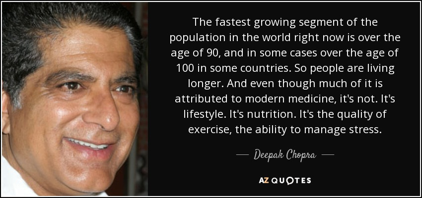 The fastest growing segment of the population in the world right now is over the age of 90, and in some cases over the age of 100 in some countries. So people are living longer. And even though much of it is attributed to modern medicine, it's not. It's lifestyle. It's nutrition. It's the quality of exercise, the ability to manage stress. - Deepak Chopra