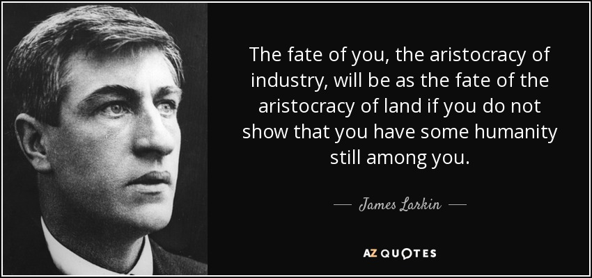 The fate of you, the aristocracy of industry, will be as the fate of the aristocracy of land if you do not show that you have some humanity still among you. - James Larkin