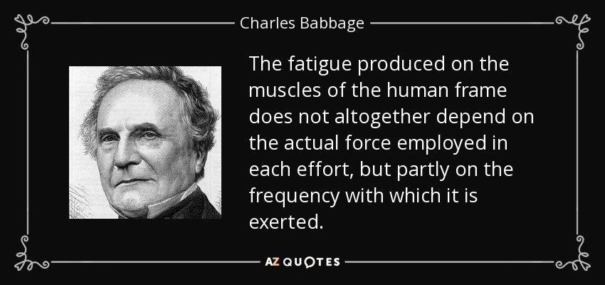 The fatigue produced on the muscles of the human frame does not altogether depend on the actual force employed in each effort, but partly on the frequency with which it is exerted. - Charles Babbage