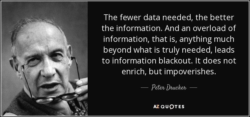 The fewer data needed, the better the information. And an overload of information, that is, anything much beyond what is truly needed, leads to information blackout. It does not enrich, but impoverishes. - Peter Drucker