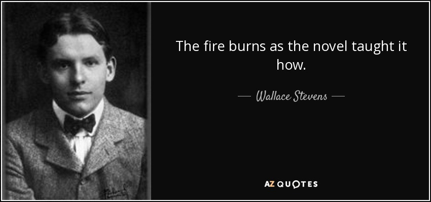 The fire burns as the novel taught it how. - Wallace Stevens