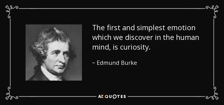 The first and simplest emotion which we discover in the human mind, is curiosity. - Edmund Burke