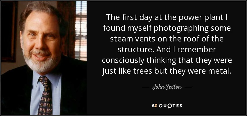 The first day at the power plant I found myself photographing some steam vents on the roof of the structure. And I remember consciously thinking that they were just like trees but they were metal. - John Sexton