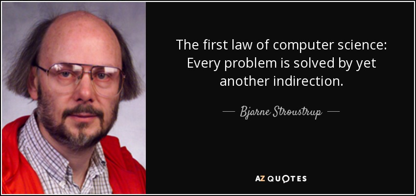 The first law of computer science: Every problem is solved by yet another indirection. - Bjarne Stroustrup