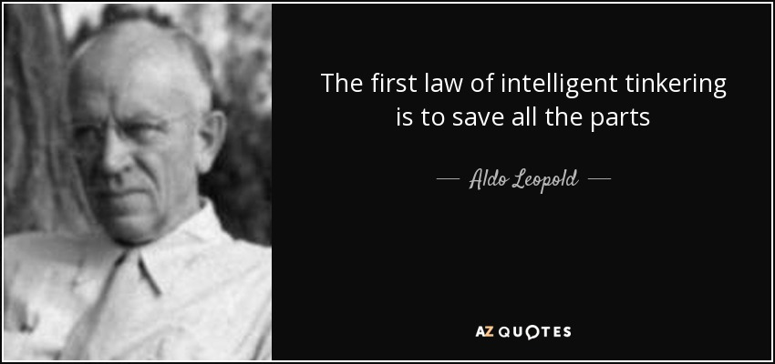 The first law of intelligent tinkering is to save all the parts - Aldo Leopold