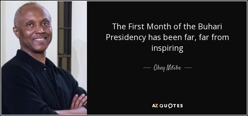 The First Month of the Buhari Presidency has been far, far from inspiring - Okey Ndibe
