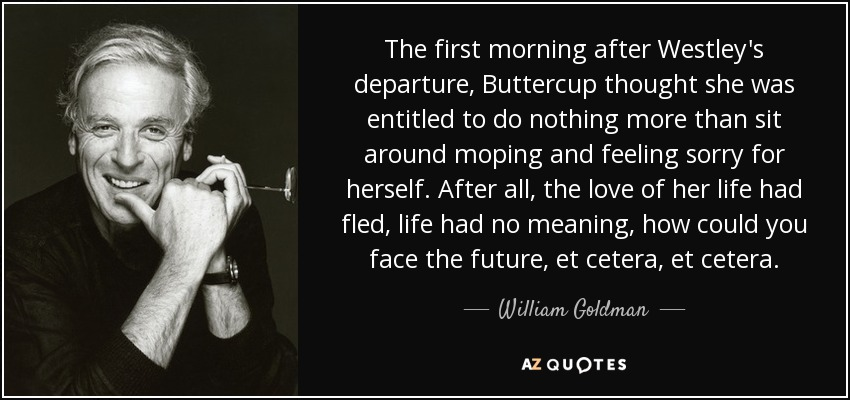 The first morning after Westley's departure, Buttercup thought she was entitled to do nothing more than sit around moping and feeling sorry for herself. After all, the love of her life had fled, life had no meaning, how could you face the future, et cetera, et cetera. - William Goldman