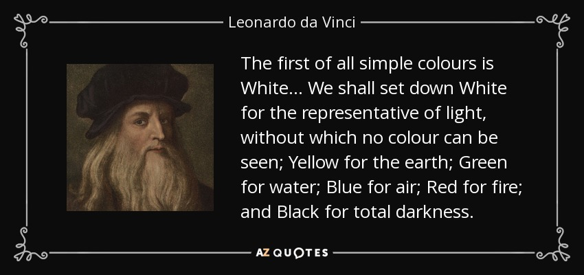 The first of all simple colours is White ... We shall set down White for the representative of light, without which no colour can be seen; Yellow for the earth; Green for water; Blue for air; Red for fire; and Black for total darkness. - Leonardo da Vinci