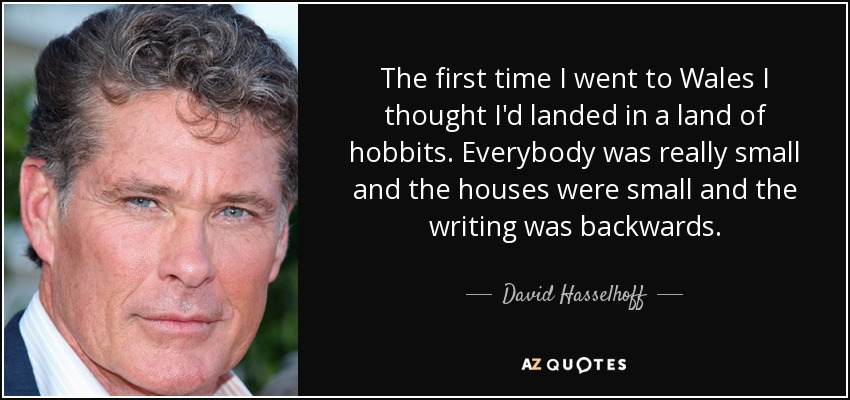 The first time I went to Wales I thought I'd landed in a land of hobbits. Everybody was really small and the houses were small and the writing was backwards. - David Hasselhoff