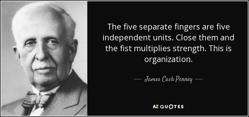 The five separate fingers are five independent units. Close them and the fist multiplies strength. This is organization. - James Cash Penney