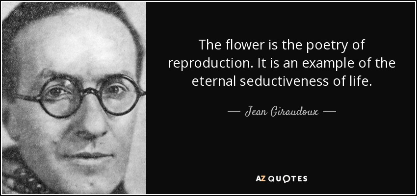 The flower is the poetry of reproduction. It is an example of the eternal seductiveness of life. - Jean Giraudoux