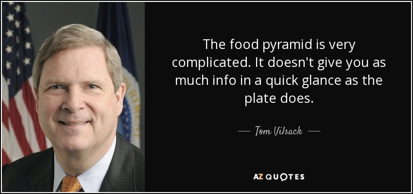 The food pyramid is very complicated. It doesn't give you as much info in a quick glance as the plate does. - Tom Vilsack