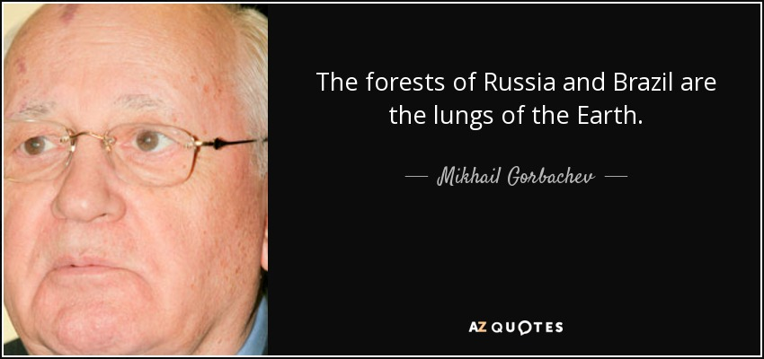 The forests of Russia and Brazil are the lungs of the Earth. - Mikhail Gorbachev