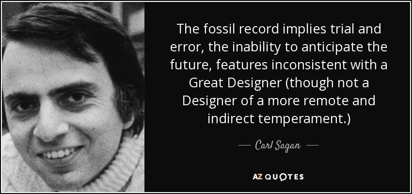 The fossil record implies trial and error, the inability to anticipate the future, features inconsistent with a Great Designer (though not a Designer of a more remote and indirect temperament.) - Carl Sagan