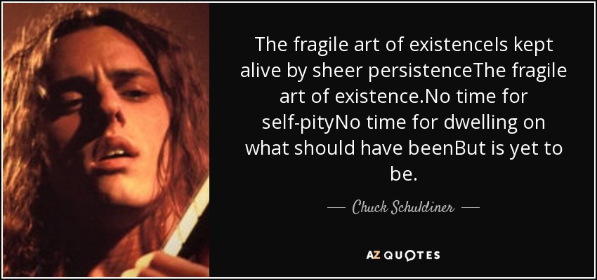 The fragile art of existenceIs kept alive by sheer persistenceThe fragile art of existence.No time for self-pityNo time for dwelling on what should have beenBut is yet to be. - Chuck Schuldiner
