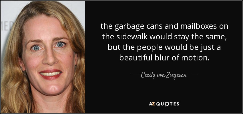 the garbage cans and mailboxes on the sidewalk would stay the same, but the people would be just a beautiful blur of motion. - Cecily von Ziegesar