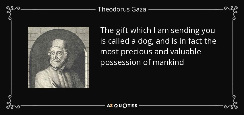 The gift which I am sending you is called a dog, and is in fact the most precious and valuable possession of mankind - Theodorus Gaza