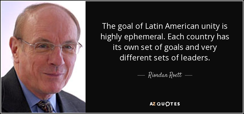 The goal of Latin American unity is highly ephemeral. Each country has its own set of goals and very different sets of leaders. - Riordan Roett