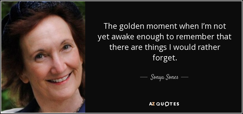 The golden moment when I'm not yet awake enough to remember that there are things I would rather forget. - Sonya Sones