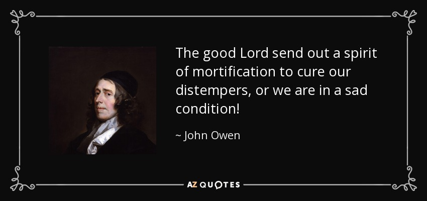 The good Lord send out a spirit of mortification to cure our distempers, or we are in a sad condition! - John Owen