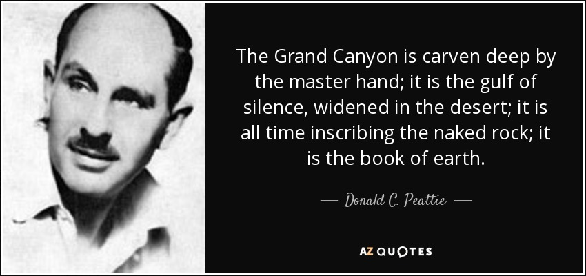 The Grand Canyon is carven deep by the master hand; it is the gulf of silence, widened in the desert; it is all time inscribing the naked rock; it is the book of earth. - Donald C. Peattie