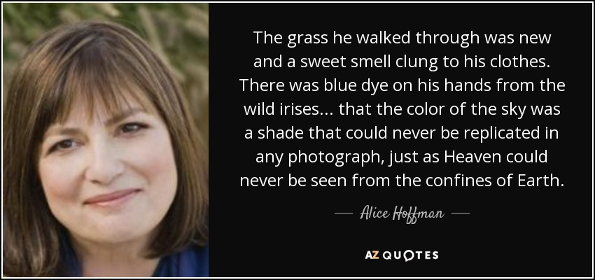 The grass he walked through was new and a sweet smell clung to his clothes. There was blue dye on his hands from the wild irises... that the color of the sky was a shade that could never be replicated in any photograph, just as Heaven could never be seen from the confines of Earth. - Alice Hoffman