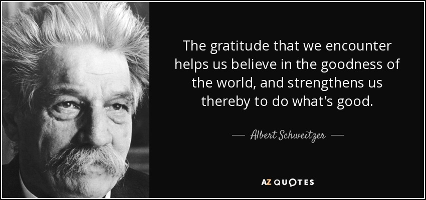 The gratitude that we encounter helps us believe in the goodness of the world, and strengthens us thereby to do what's good. - Albert Schweitzer