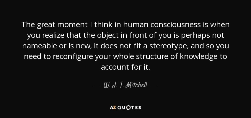 The great moment I think in human consciousness is when you realize that the object in front of you is perhaps not nameable or is new, it does not fit a stereotype, and so you need to reconfigure your whole structure of knowledge to account for it. - W. J. T. Mitchell